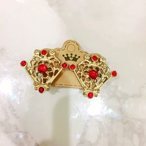 Jewelry - Red and Gold Filigree Clip On Earrings